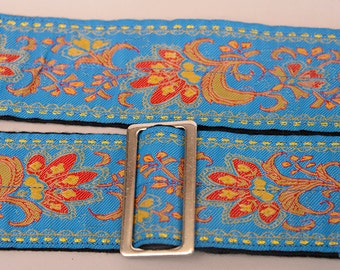 LAST ONE- Handmade Guitar Strap,  Bright Blue gold and red Paisley pattern, Rich and luxurious, classic style, hootenanny