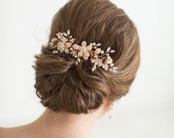 Gold Wedding Hair Comb, Gold Bridal Comb, Gold Wedding Headpiece