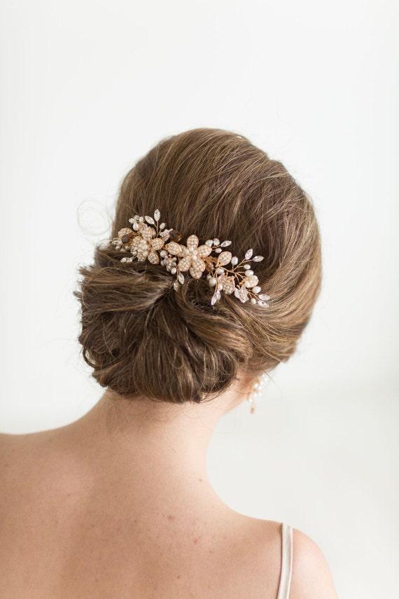 Gold Wedding Hair Comb, Gold Bridal Comb, Gold Wedding Headpiece