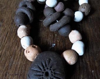 "Artisan ceramic beads and pendant - 16"" strand - SALE"