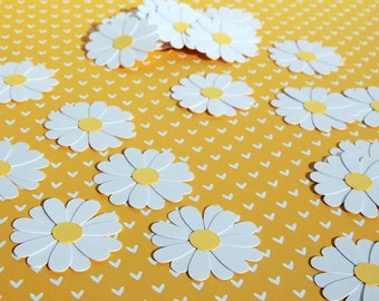 daisies table confetti spring flower confetti table scatter 50 pieces garden party bridal shower birthday wedding decor daisy theme party