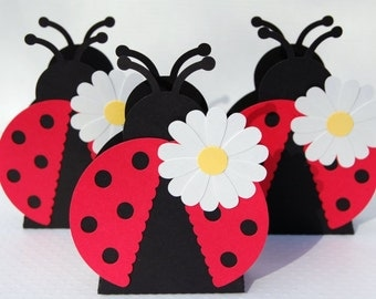 lady bug favor gift box set of 10 lady bug theme party baby shower birthday garden party