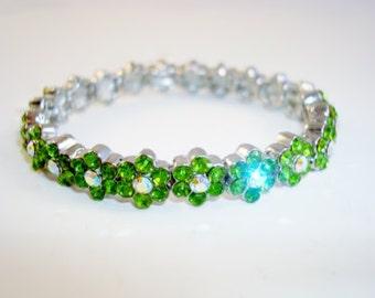 Gorgeous Green AB Crystals  Flower Stretch Bracelet