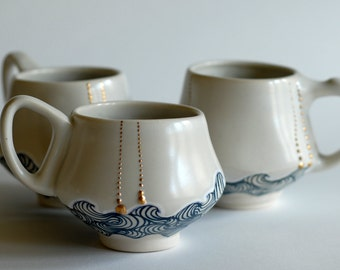 Wave Mugs with Gold Dots