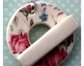 Pink Roses - Large Ceramic Circle Focal Toggle Clasp