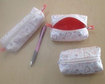 Trio of zippered mini zipper bags, fabric keychain pouches
