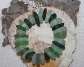 BEACHGLASS/SEAGLASS/ Beachglass suplies/seaglass supplies beachglass jewelery/seaglass jewelery 30 Center Drilled Beach Glass Beads   zy051