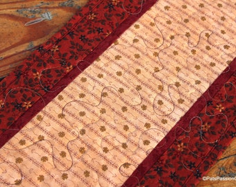 Brown Quilted Table Runner, Primitive Quilted Runner, Quilted Table Runner Brown Tan, Floral Table Runner