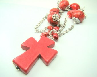 Red cross pendant necklace, red statement necklace, long red gemstone, red pearls, red coral, silver and red