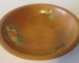 Vintage Munising Solid Wood Salad Bowl, Fruit Bowl, Made in USA, Fruit Decals