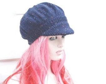 ON Sale Knitted Newsboy Hat  Baker Boy Womens  Peaked Winter Hat Navy Fleck