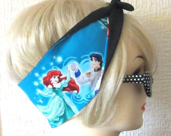 Ariel Little Mermaid Hair Tie Fabric Head Scarf by Dolly Cool Comic Book Strip Boom Pow Zap Superhero Ursula Eric