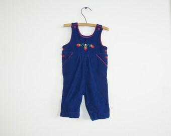 Vintage Royal Blue Strawberry Overalls