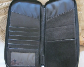 Vintage black leather zippered passport wallet, extra long leather zip around wallet, clutch, organizer case, bi fold zippered leather case