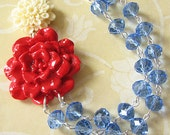Statement Necklace Flower Necklace Turquoise Jewelry Bib Necklace Bridesmaid Jewelry Red Necklace