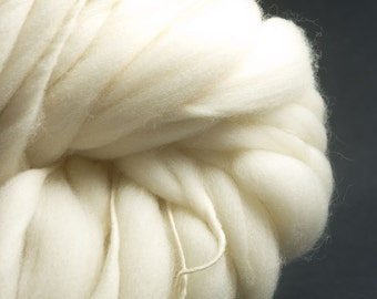 Pure Thickest and Thinnest Chunky, HandSpun Undyed  Extra Fine Merino Yarn, Extra Bulky 50 yards
