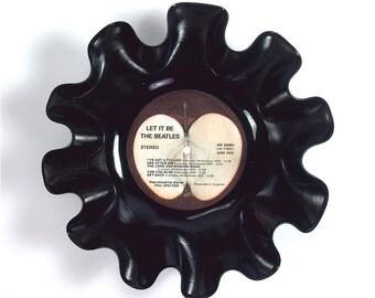 The Beatles Vinyl Record Bowl Rare Vintage LP Album 1970 (Let It Be) Red Apple Label