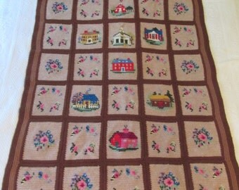 Vintage Knitted Throw Flowers Buildings Very Detailed SALE