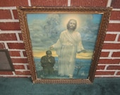 Vintage 1940s Patriotic Religious Framed Print of American Soldier Praying to Jesus