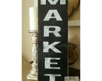 Market Sign Vertical Wall Art Fixer Upper Style Black Sign Rustic Kitchen