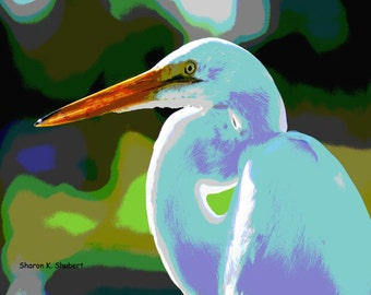 Heron Art, Bird Home Decor, Cottage Chic, Pastel Colors, Waterfowl Wildlife Woodland, Lake Animal, Wall Hanging, Giclee Print, 8 x 10