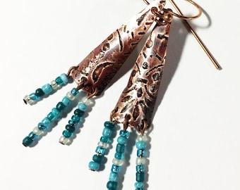 Etched Copper Hippie Boho Earrings