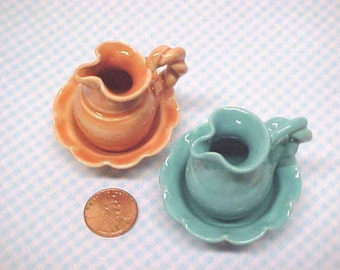 Collectible Miniature Pottery Mini Pitcher and Bowl Set - Choose Peach or Turquoise glaze - Play Scale Size