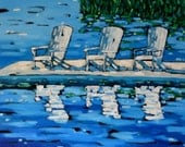 Signed  Print - White Beach Chairs by artist Christi Dreese
