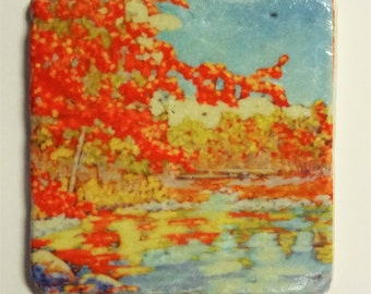 Red Autumn Tumbled Stone Coasters, Trivets, Tiles, Back Splash  Christi Dreese, Signed by the artist.