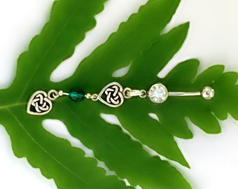 Emerald #Green, #Sterling Silver, Celtic Hearts, Navel Rings, #Beltane #Moon