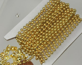10 ft spool of Gold plated BIG ball chain - 3.2mm with 5 connector(Crimp type)
