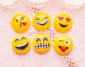 Emoji Faces Flat Back Resin Cabochon - 6pc | Resin Cabochon Decoden Supplies Jewelry Making Flatback Resin Cabochon