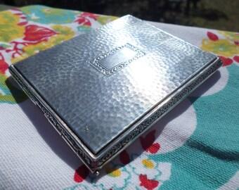 antique floral border hammered sterling silver signed cigarette case, money, business card, stash box