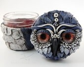 Owl Stash Jar in Wisteria - ready to ship  - air tight, water proof - 4 oz.
