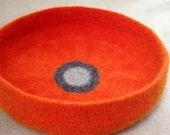 Modern Cat Bed Knit Crochet Wool Handmade Felted Pet Bed in Orange with Dark and Light Gray Circles
