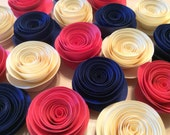 Coral, Cream & Navy Blue Paper Flowers, Loose Flowers, Rolled Spiral Paper Roses (18)x2 - Wedding, Shower, Party/Table decoration