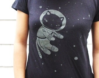 Glow-in-the-dark Space Kitty women's tee