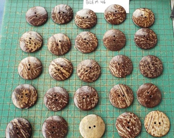 Large Coconut Buttons, 25 count,  2 inch, natural coconut shell, XXL , blemished buttons,   WYSIWYG,  bag 46