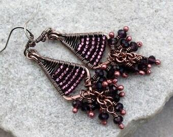 Purple Chandelier Earrings, Antique Copper, Wire Wrapped, Handmade, Sterling Silver Earwires