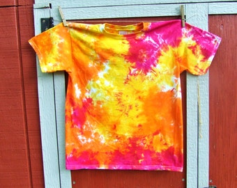 Youth Large Tie Dye T-shirt - Solar Flare - Blotter-style - Ready to Ship