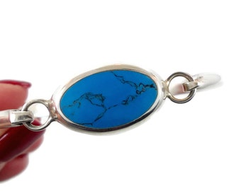 Turquoise Bracelet, Hinged Bangle Cuff, Sterling Silver, Vintage Bracelet, Mexico, Stacking Heavy, Minimalist, Modern, Boho Bohemian, Hinged