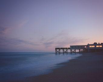 Pier - Ocean Sunset- Edisto Island Sunset, Blue Sunset, Ocean Sunrise, Water Sunset, Pier Sunset