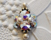 White Pearl Bindi with Rainbow Crystal AB Swarovski and Antiqued Silver Principessa