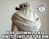 Hooded Cowl Knitting PATTERN, Alasse Miriel, PDF DOWNLOAD