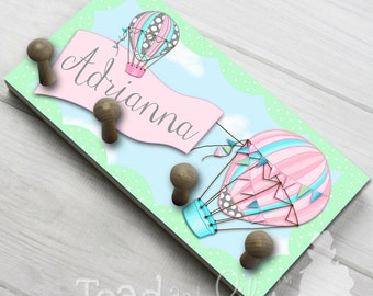 Mint and Pink Hot Air Balloon Girls HAT HOLDER - Personalized Accessory Holder - Clothing Rack - Hat Organizer for Boys HH0004