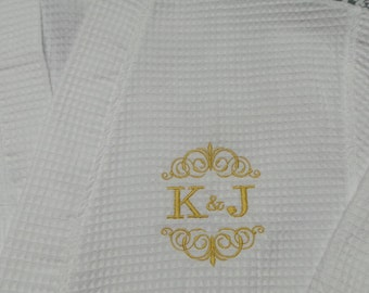 Bride's Robe Personalized Bride and Groom's Initials and design or name. Nice Bridal Gift Spa Robe Waffle Weave Robe.