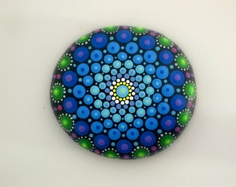 Bohemian dot art-Holiday gift ideas-mandala stones-painted rocks-autumn finds-ooak neon polka dot art-amethyst green blue teal-pointillism