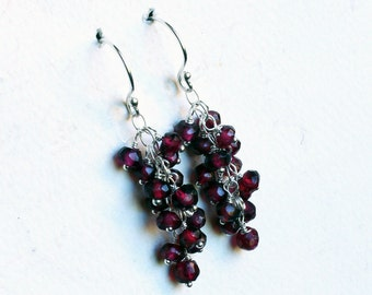 Garnet Earrings on Sterling Silver - Berry Cascade by CircesHouse on Etsy