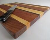 LARGE Beautiful RECLAIMED Mixed Hardwoods Cutting Board Black Walnut, Maple and Sapele