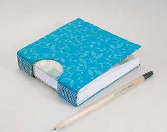 Square Blank Journal, Notebook, Guestbook or Sketchbook in Turquoise Vines